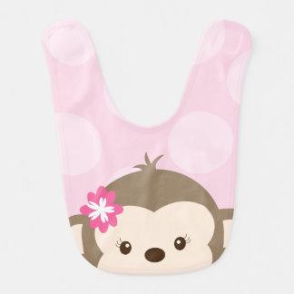 Peeking Mod Monkey Baby Bib (Pink)