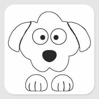 peeking poodle white square sticker