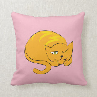 Peeking, Sleeping Cartoon Cat Throw Pillow