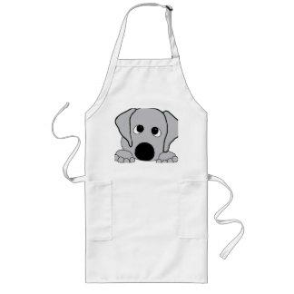 peeking wimaraner gray long apron