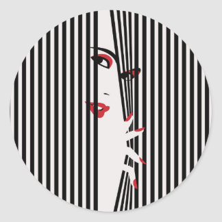 Peeking Woman (White) Sticker