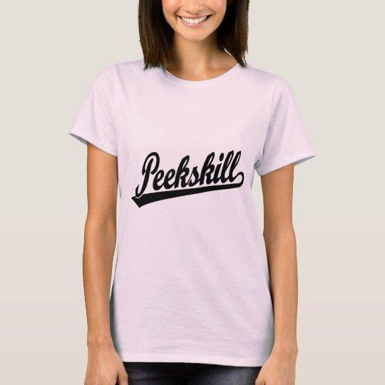 Peekskill script logo in black T-Shirt