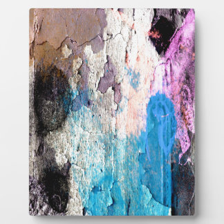 Peeling Paint in Blue, Purple, Pink Plaque