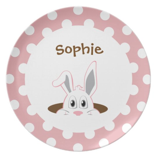 Peeping Bunny Easter Kids Plate