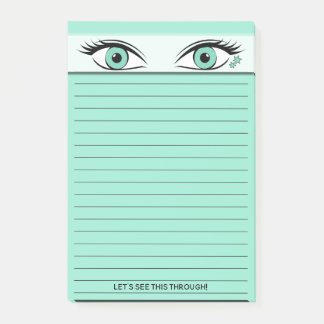 Peeping Green Eyes At Top of Black Lined Post-it Notes