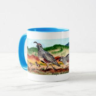 """Peeps on Parade"" Quail Family Artwork on Mug"