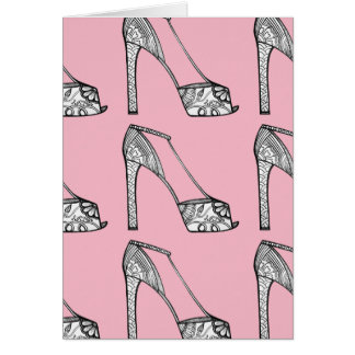 Peeptoe Platform Pump Blank Greeting Card