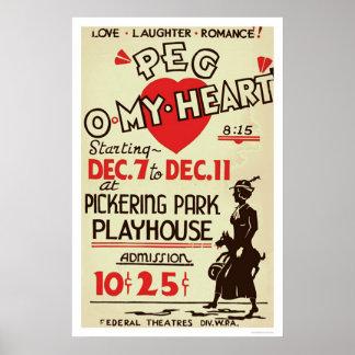 Peg Omy Heart Drama 1940 WPA Poster