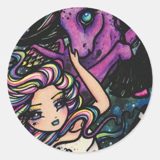 Pegasus Cosmic Rainbow Star Fairy Girl Fantasy Round Sticker