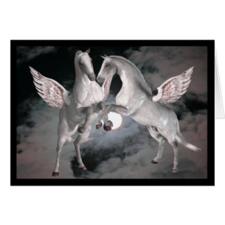 Pegasus Full Moom Fantasy Horses Photo Card