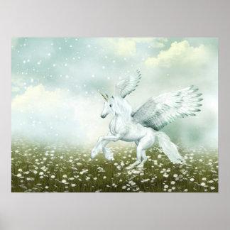 Pegasus in daisies poster