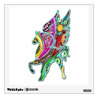 Pegasus Wings Flared Colorful Wall Decal