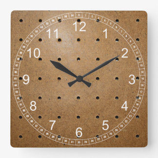 Pegboard Square Wall Clock