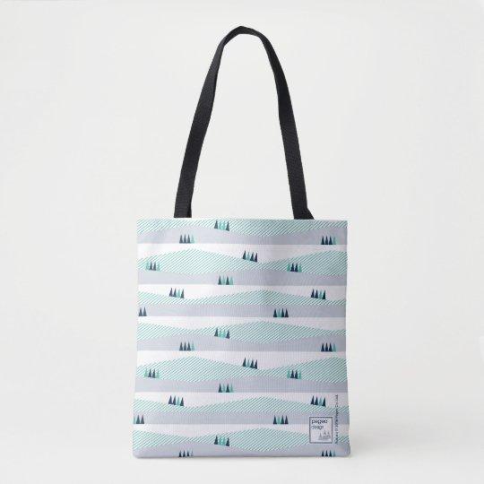 Pegeo Aurora Turquoise Stripe & Baby Blue Tote Bag