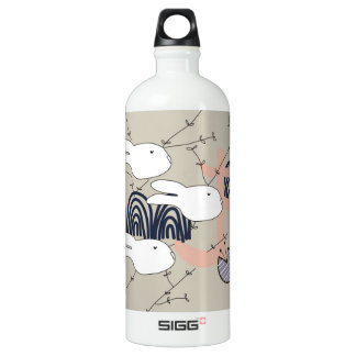 Pegeo White Bunnies Twin Daydreaming Water Bottle