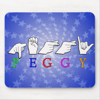 PEGGY FINGERSPELLED ASL NAME SIGN MOUSE PAD