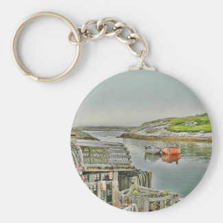 Peggy`s Cove Harbour Basic Round Button Keychain