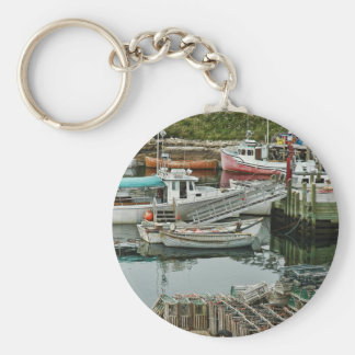 Peggy's Cove Boats Basic Round Button Keychain