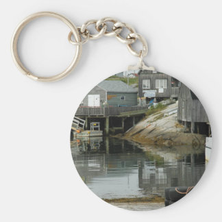 Peggy's Cove Docks Basic Round Button Keychain
