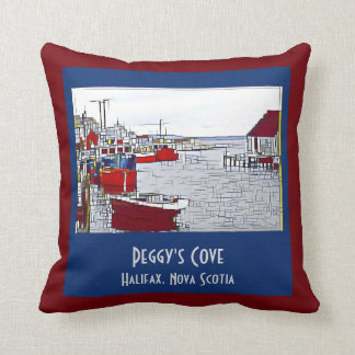 Peggys Cove, fishing boats on rust/blue Throw Pillow