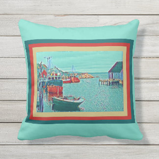 Peggys Cove, fishing boats on seafoam Throw Pillow