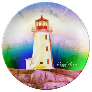 """""""Peggy's Cove"""""""" Lighthouse """"Lighthouse green blue Porcelain Plate"""
