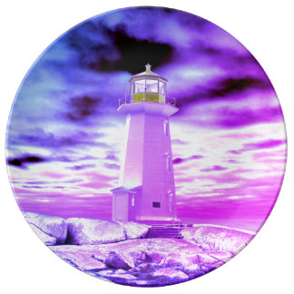 """Peggy's Cove"""" Lighthouse Lighthouse purple plate"
