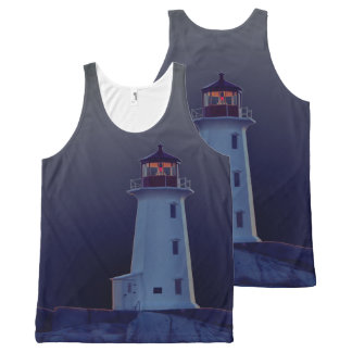 Peggy's Cove  Lighthouse Route Nova Scotia blue All-Over-Print Tank Top