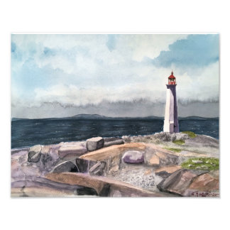 PEGGY'S COVE, NOVA SCOTIA, CANADA WATERCOLOR PHOTO PRINT