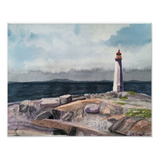 PEGGY'S COVE, NOVA SCOTIA, CANADA WATERCOLOR POSTER