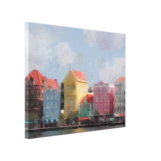 Peinture colorée du Curaçao Impression Sur Toile