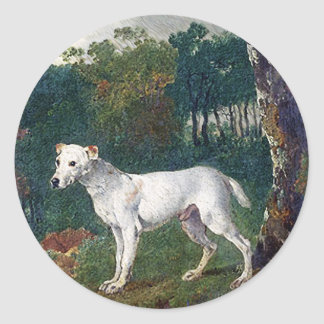 Peinture de bull-terrier - beaux-arts vintages autocollant rond