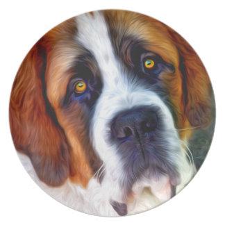 Peinture de chien de St Bernard Assiette