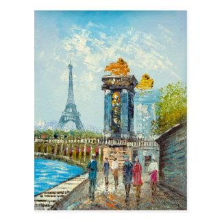 Peinture de scène de Tour Eiffel de Paris Carte Postale