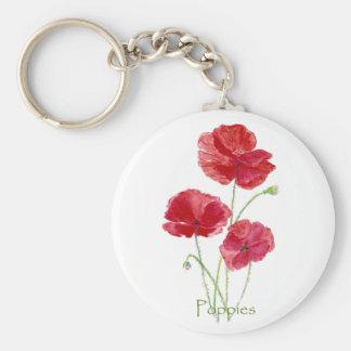 Peinture florale de fleur rouge de pavot d'aquarel porte-clé rond