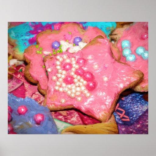 Peinture givrée par rose Girly de biscuits de Affiches