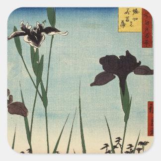Peinture japonaise d Ukiyo-e de jardin vintage Autocollant Carré