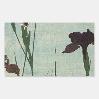 Peinture japonaise d Ukiyo-e de jardin vintage Autocollant En Rectangle