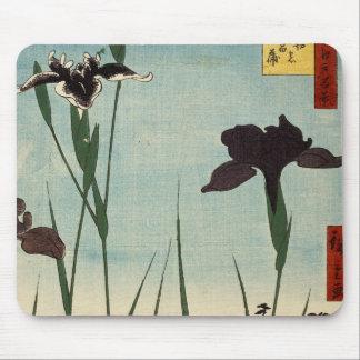 Peinture japonaise d Ukiyo-e de jardin vintage Tapis De Souris
