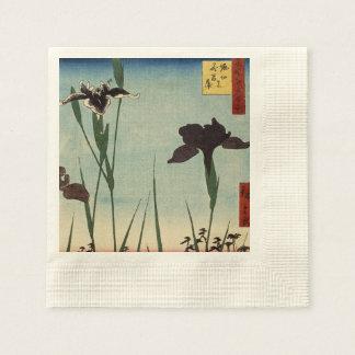 Peinture japonaise d Ukiyo-e de jardin vintage Serviette Jetable