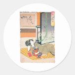 Peinture, mère et bébé japonais antiques autocollants ronds