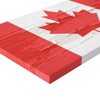 Peinture patinée de drapeau canadien toiles tendues
