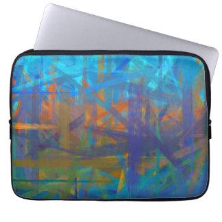 Peinture pourpre bleue orange d'art abstrait housses ordinateur