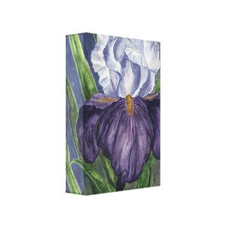 Peinture pourpre d'aquarelle de fleur d'iris sur impression sur toile