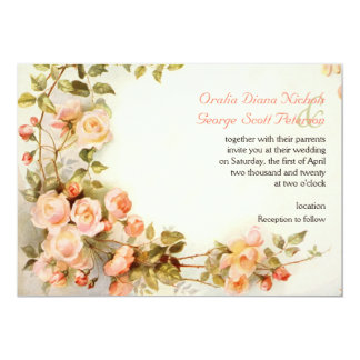Peinture romantique vintage de épouser de roses carton d'invitation  12,7 cm x 17,78 cm