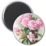 Peinture rose vintage de roses magnet rond 8 cm