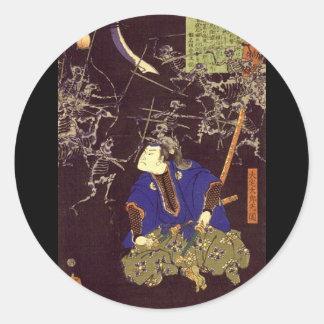 Peinture samouraï de fantôme, C. 1865 Autocollants Ronds