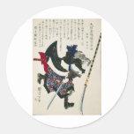 Peinture samouraï japonaise antique circa 1869 autocollants