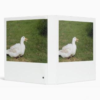 Pekin duck with open bill on green grass vinyl binder