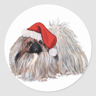 Pekingese at Christmastime Classic Round Sticker